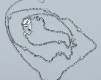 """Estate 14K White Gold .16cttw 7 Diamonds by Yard Station Necklace Chain 17"""" Long"""