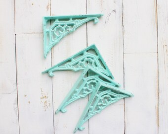 Small Iron Brackets,In Aquamarine,Shabby Living Room Home,Bathroom Fixture,Small Brackets,Anthropologie Home,Aqua Mist,Creamy Ivory White