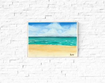 BEACH ART PRINT - beach Art, beach, watercolor beach painting,  birthday gift, gift for her, gift for him, boys room, wall art, seaside art