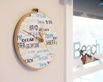 Decorative Beach Clock, Wooden Clock, Beach Clock Decoration, Fabric Wall Hanging Clock, Wall Clock, Summer Clock