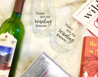 these are my reading glasses wine glasses - SET OF 2 - funny gift for mom, grandma, book club, library, teacher, bookworm, reader