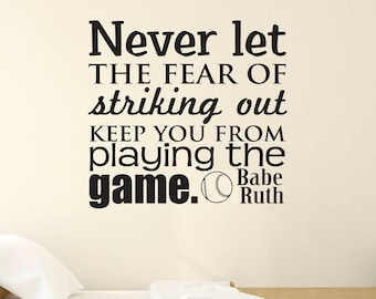 Sports Wall Decal, Boys Bedroom Decal, Babe Ruth, Bedroom Wall Decal, Baseball, Youth Wall Decal, Vinyl Wall Decal, Fear of Striking Out