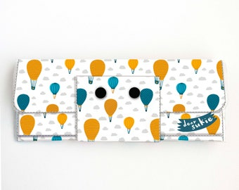 Vinyl Long Wallet - Balloon Ride / vegan, pretty, large wallet, clutch, card case, vinyl wallet, big, hot air balloon. adorable, handmade