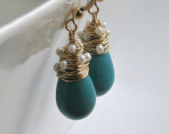 Turquoise Pearl Drop Earrings, Wire Wrapped Turquoise Drops, Pearl Dangle Earrings, December Birthstone Earrings