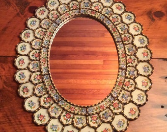 Rare Old BEAUTIFUL Mexican Folk Art wood carved frame with mirror