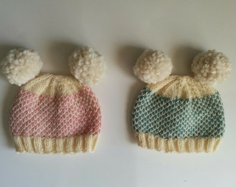 Hand Knit Peruvian Wool Fair Isle Hats 0-3 months Blue, Pink and Cream + Pom Pom