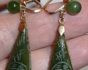 14k Gold & Jade Earrings Vint. Screwback FREE Ship USA