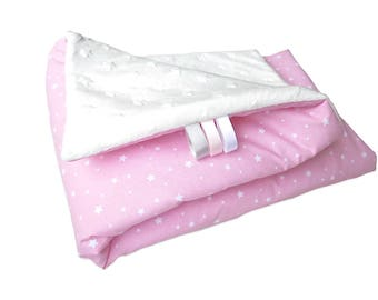 Blanket Pink/white cloud with white stars