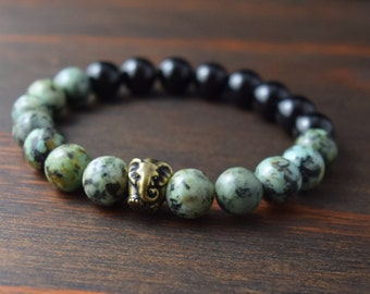 Opposites Attract! African Turquoise and Onyx Bracelet. Elephant Bracelet. Men's Fashion. Men's Gift. Yoga Bracelet. Lotus & Lava Bracelet.