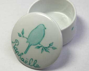 Box for jewelry or other small treasures custom porcelain turquoise bird