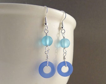 Unique blue earrings sea glass earrings seaglass earrings sea glass jewelry seaglass jewelry frosted glass jewelry beaded earrings gift