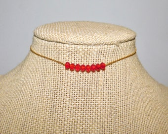 Red Simple Beaded Chain Choker ||Gold Chain Choker ||Gold Choker ||Gemstone Choker||Chained Choker || Beaded Choker || Gold Choker