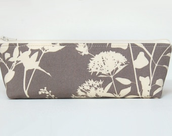 Toiletry Storage, Makeup Bag, Cosmetic Case, Zipper Pouch, Wildflowers in Stone, Joel Dewberry Ginseng