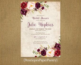 Elegant Rustic Fall Bridal Shower Invitation,Burgundy,Marsala,Blush,Parchment,Personalize,Custom,Printed Invitation,Envelopes,Ivory Envelope