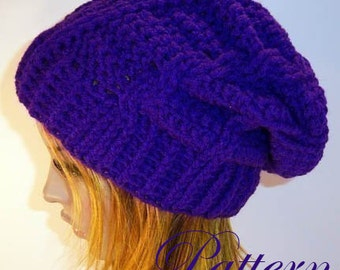 "Pretty Purple Cable Slouch Hat """"""P A T T E R N"""""""