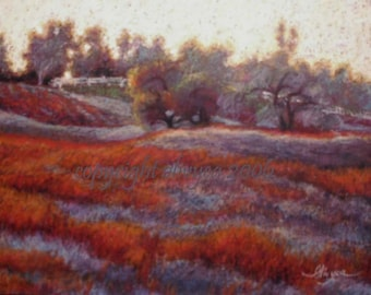 Sunset Painting, Wine Country, Farm Land, South Pacific, Autumn Landscape, fields with picket fences