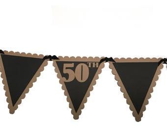 Happy 50th Birthday Pennant Banner - Black and Kraft Brown, READY to SHIP
