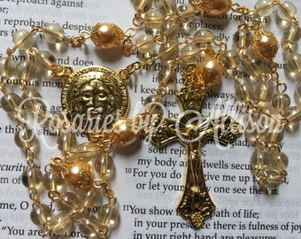 Light Golden Glow Czech glass bead and Gold Preciosa crystal pearl rosary with Gold Plated Holy Face Center and Crucifix