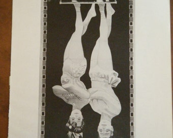 Vintage Circus Poster The Great Aerial Smiths Black and White Poster Size Book Plate