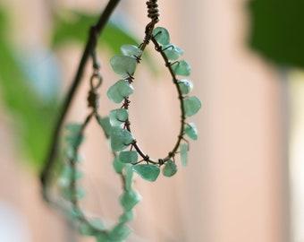 Aventurine Earrings -  Aventurine Earrings - Handcrafted Aventurine Earrings - Wire Wrapped Earrings - Teardrop Earrings - Green Earrings