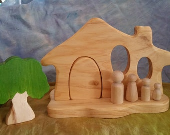 Waldorf Steiner Wooden house plus paintable peg family, tree optional