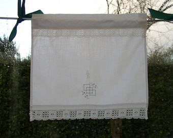 Pair of small curtains breeze-view(-sight) or tier old hand embroidered