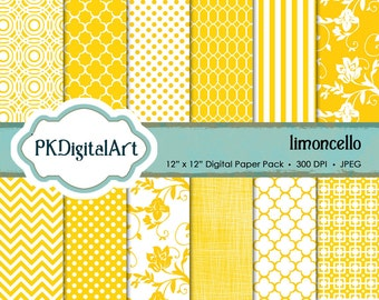Limoncello Yellow Digital scrapbook paper; linen backgrounds, patterns, and textures in rich shades