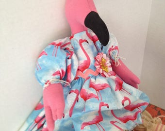 Flamingo Doll, Flamingo Decor, Art Doll, Dolls Handmade, Home Decor Doll, Primitive Art Doll, Whimsical Decor, Mothers Day Gifts