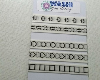 Checklist washi tape samples - 24 inch sample - Pumpkin - Snowman - Heart checklist - Square checklist - Bullet washi - Skinny washi