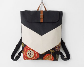 Blossom. Dark navy chevron canvas backpack / Laptop bag / diaper bag. 7 inside pockets. Waterproof poly lining available