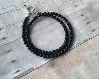 Obsidian Small Double Wrap Essential Oil Diffuser Bracelet Lava Bead Gemstone Bracelet  Diffuser Bracelet Aromatherapy bracelet