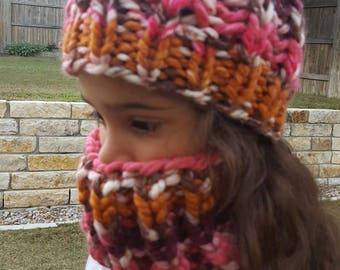 Free Shipping kids chunky  hat / neck warmer set