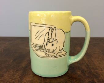 Handmade Bunny Mug. Glazed in Lime & Aqua. MA25