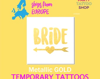 Gold Bride tattoo, bridal shower, bachelorette tattoo, gold temporary tattoo, matching bride tribe tattoo