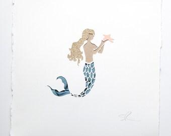 Mermaid girl handmade papercut picture // personalized baby gift - nursery wall art - nursery decor - fantasy sea creatures - new baby gift