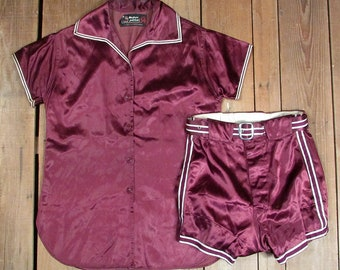 Vintage 1940s MacGregor Goldsmith Girls Basketball Uniform Satin Shirt w/ Shorts