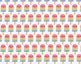 Suzy's Mini's,  Mini Pink Popsicles on White cotton woven fabric