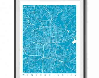 WINSTON-SALEM Map Art Print / North Carolina Poster / Winston-Salem Wall Art Decor / Choose Size and Color