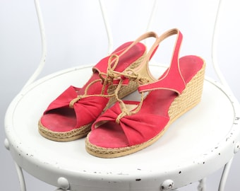 Red Peep-toe Nautical Pin-up 50s Wedges -- Sz 7.5