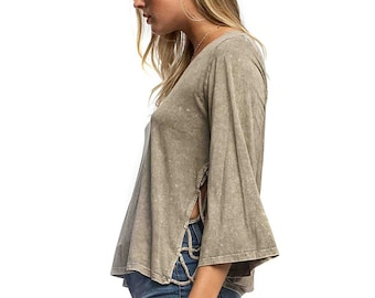 Bell Sleeve Lace Up Side Top - Olive