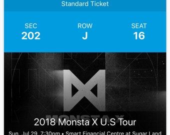Monsta X Concert Ticket (2018 U.S. Tour)