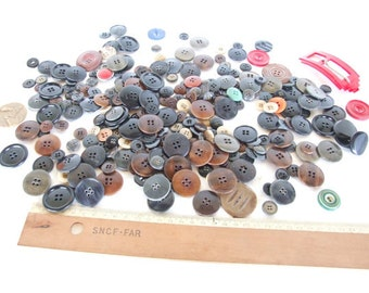 Vintage French Button and belt collection some new some used.