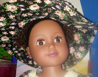 """Black Rose pattern dress and white bloomers w) large floppy hat for 18"""" doll"""