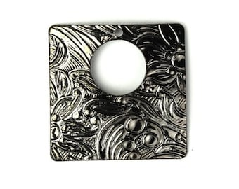 Ornate Square Stampings Charms 20mm Gunmetal (4) CP084
