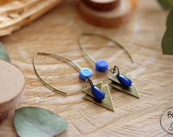 KNIT ' HORN ••• dangle earrings - blue and Bronze