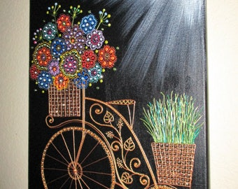 Bicycle & flower art Canvas art Wall decor Acrylic painting Original painting Modern art