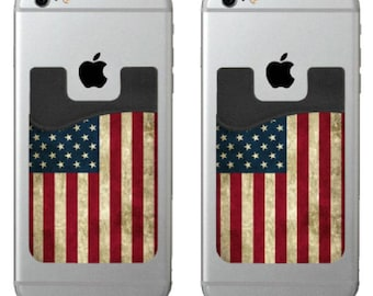 Two Dark American Flag cell phone stick on wallet card holder phone pocket for iPhone, Android and all smartphones