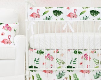Tropical Floral Flamingo's Bumperless Baby Bedding | Pink, Watercolor Floral, Flamingo, Teething Guard Girl Crib Set | Baby Girl Nursery