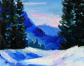 Northwest, Winter, Landscape, Oil Painting, Original, Small, 6x6 Canvas, Blue, White, Snow Scene, Mountains, Evergreen Trees, Forest
