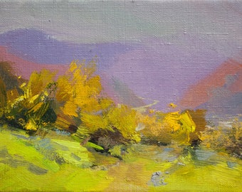 Plein Air Colorful Landscape Painting Small Abstract Oil Painting Canvas Original Artwork - Autumn II